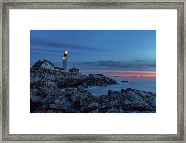 Blue Hour At Portland Head Light Framed Print