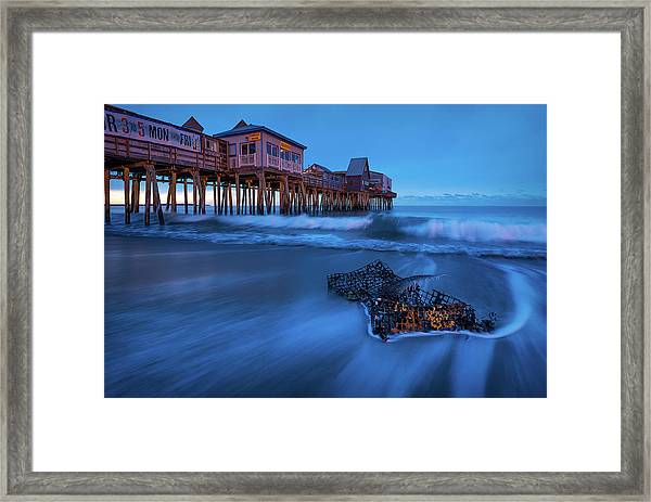 Blue Hour At The Old Orchard Beach Pier Framed Print by Jeff Bazinet
