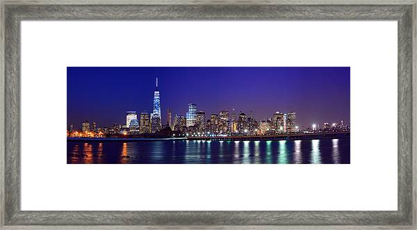 Blue Hour Panorama New York World Trade Center With Freedom Tower From Liberty State Park Framed Print