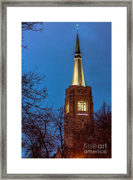 Blue Hour Steeple Framed Print