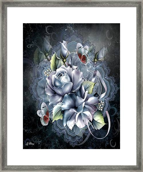 Blue Ice Roses Framed Print