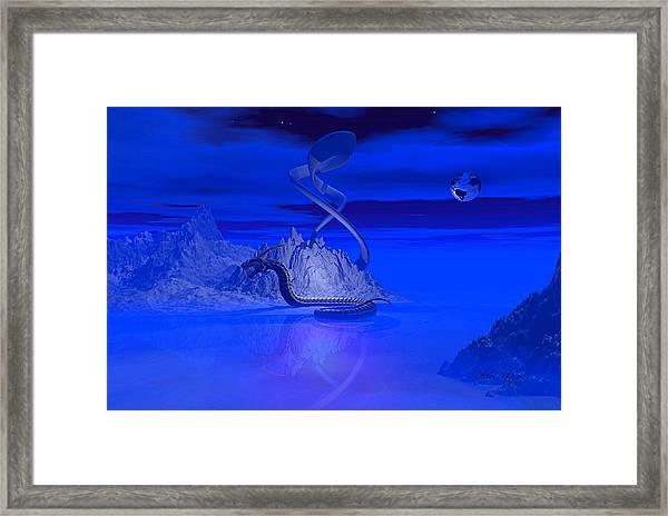 Blue Ice World Dragon Framed Print