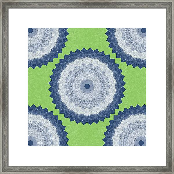 Blue Mandala- Art By Linda Woods Framed Print