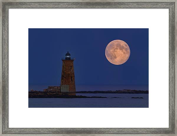 Blue Moon Over Whaleback Lighthouse Framed Print