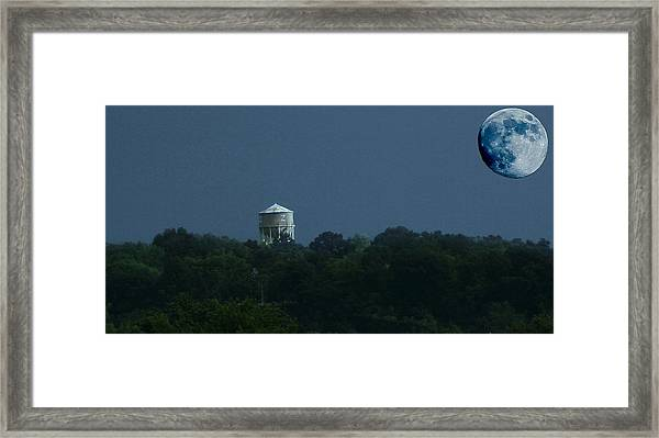 Blue Moon Over Zanesville Water Tower Framed Print