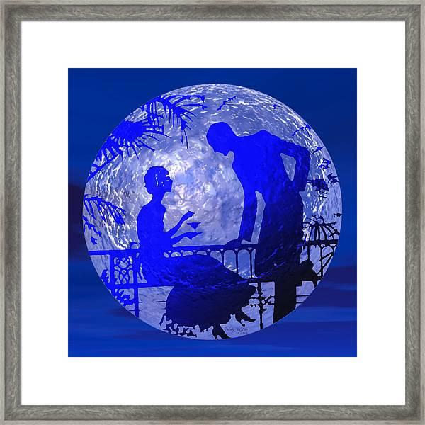 Blue Moonlight Lovers Framed Print