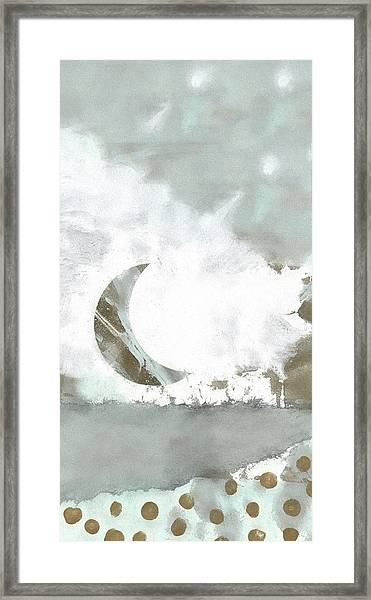 Blue Moonset Monoprint Collage Framed Print
