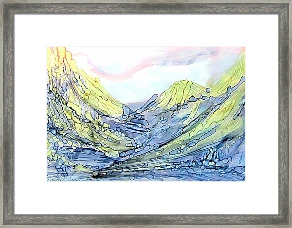 Blue Mountains Alcohol Inks  Framed Print
