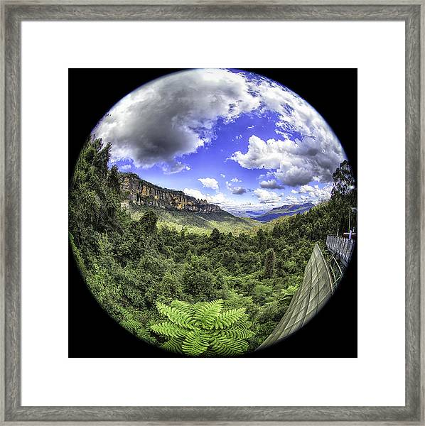 Blue Mountains Fisheye Framed Print