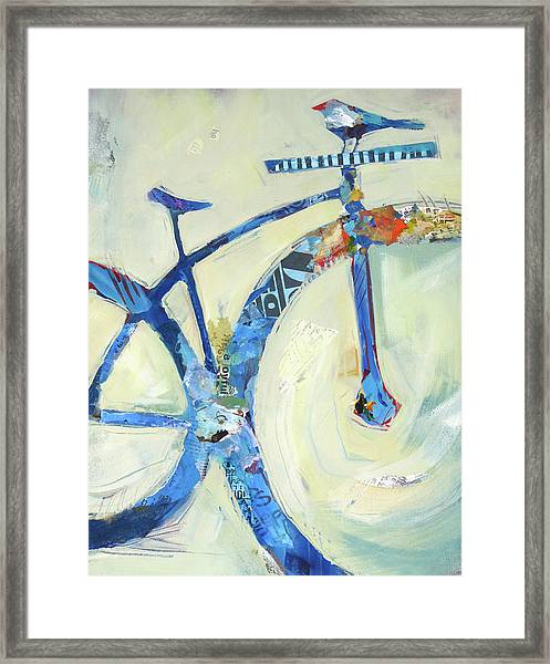 Framed Print featuring the painting Blue Mt Bike And Bird by Shelli Walters