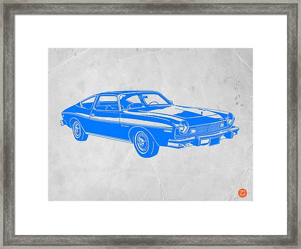 Blue Muscle Car Framed Print