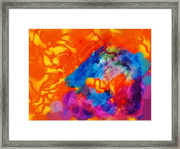 Framed Print featuring the digital art Blue On Orange by Antonio Romero