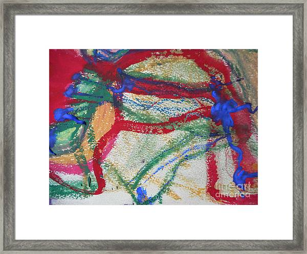 Blue On Red Framed Print