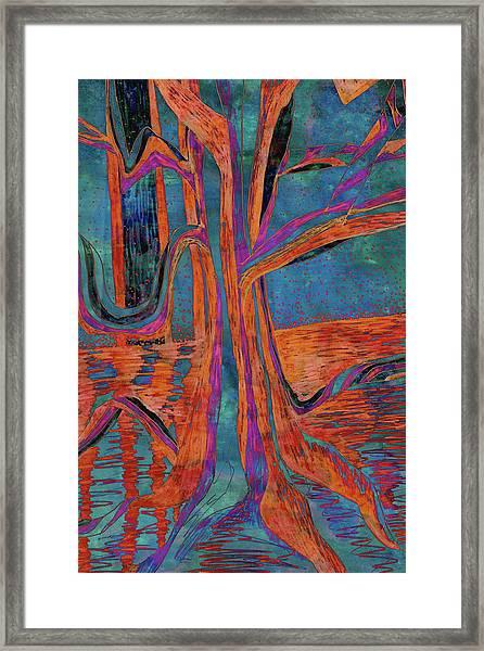 Blue-orange Warm Dusk River Tree Framed Print