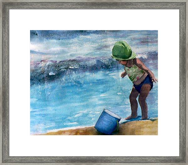 Blue Pail Framed Print