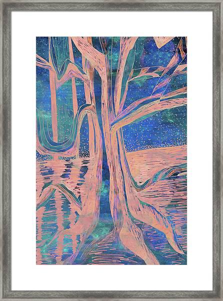 Blue-peach Dawn River Tree Framed Print