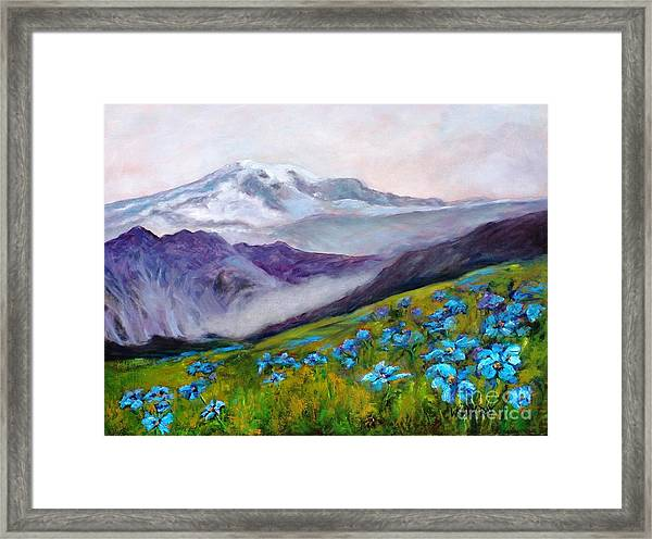 Blue Poppy Field Framed Print