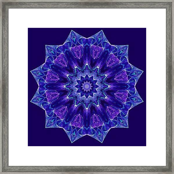 Blue And Purple Mandala Fractal Framed Print