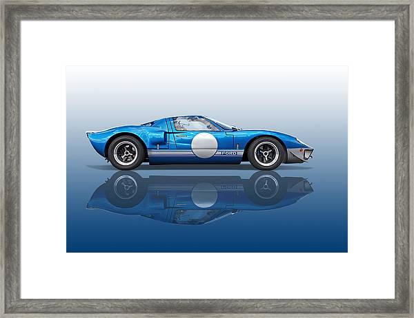 Blue Reflections - Ford Gt40 Framed Print