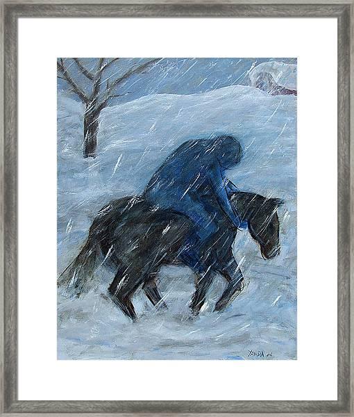 Blue Rider On Horse Framed Print
