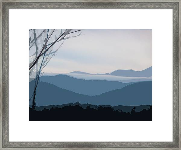 Framed Print featuring the digital art Blue Ridge Above The Clouds by Gina Harrison