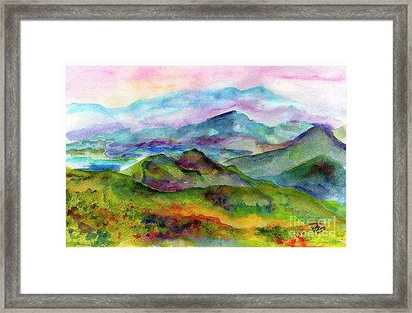 Blue Ridge Mountains Georgia Landscape  Watercolor  Framed Print