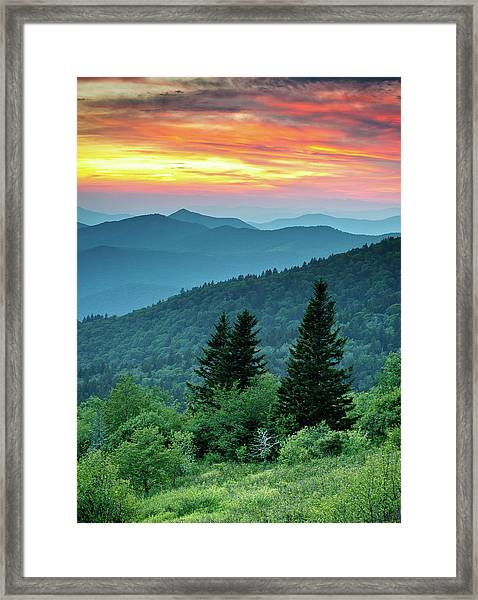 Blue Ridge Parkway Nc Landscape - Fire In The Mountains Framed Print