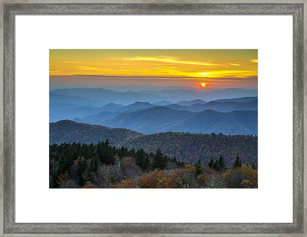 Blue Ridge Parkway Sunset - For The Love Of Autumn Framed Print