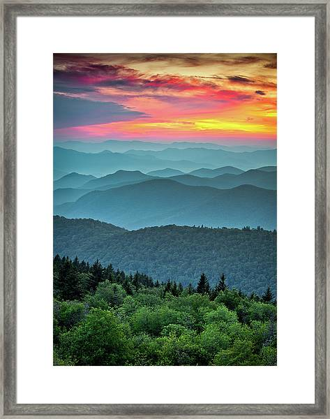 Blue Ridge Parkway Sunset - The Great Blue Yonder Framed Print