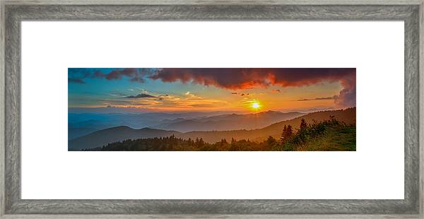 Blue Ridge Sunset Pano Framed Print