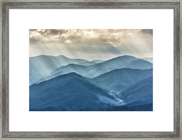 Blue Ridge Sunset Rays Framed Print
