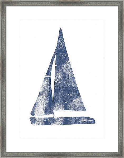 Blue Sail Boat- Art By Linda Woods Framed Print