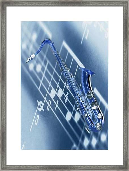 Blue Saxophone Framed Print