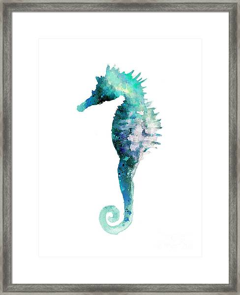Blue Seahorse Watercolor Poster Framed Print