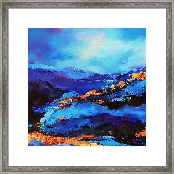 Framed Print featuring the painting Blue Shades by Elise Palmigiani