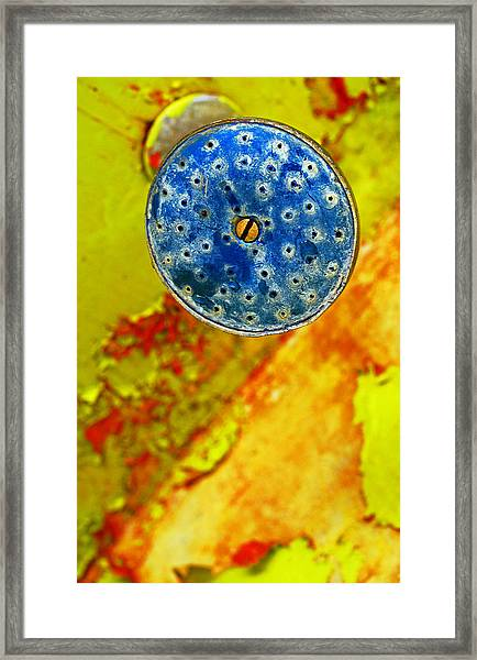 Framed Print featuring the photograph Blue Shower Head by Skip Hunt