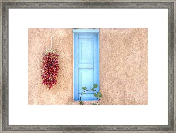 Blue Shutters And Chili Peppers Framed Print