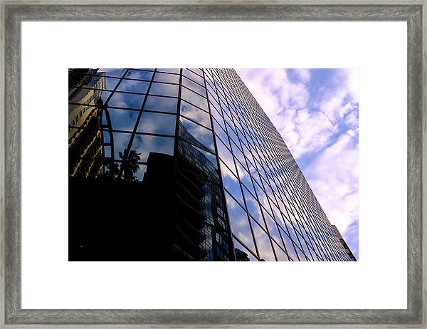 Blue Skyscrapper With A Blue Sky In New Orleans Louisiana Framed Print