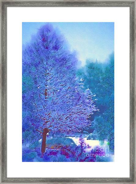 Blue Snow Scene Framed Print