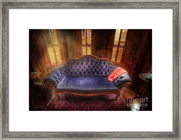Blue Sofa Den Framed Print