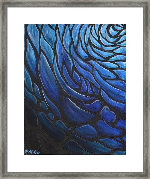Blue Stained Glass Framed Print