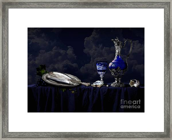 Still Life In Blue Framed Print