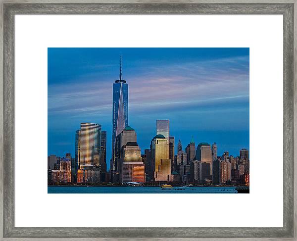 Blue Sunset At The World Trade Center Framed Print