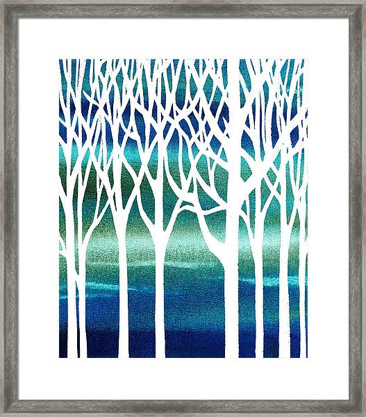 Blue Teal Forest Framed Print