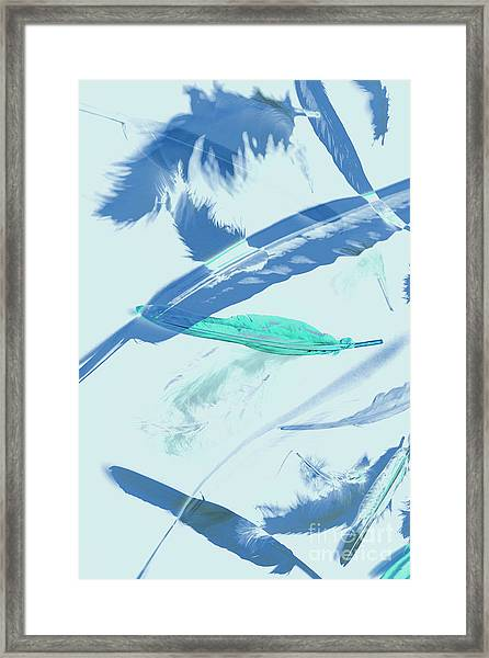 Blue Toned Artistic Feather Abstract Framed Print
