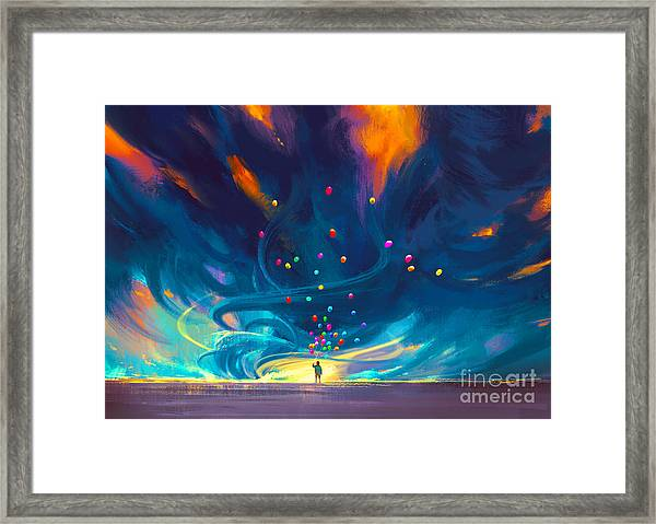 Framed Print featuring the painting Blue Tornado by Tithi Luadthong