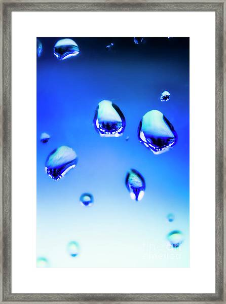 Blue Water Droplets On Glass Framed Print