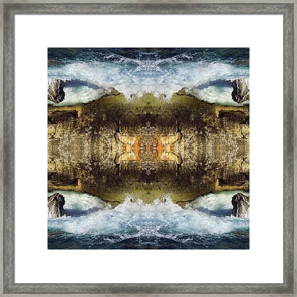 Blue Waves And Ancient Rocks I Framed Print