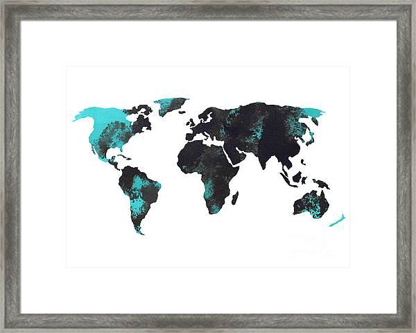 Blue World Map Watercolor Painting Framed Print