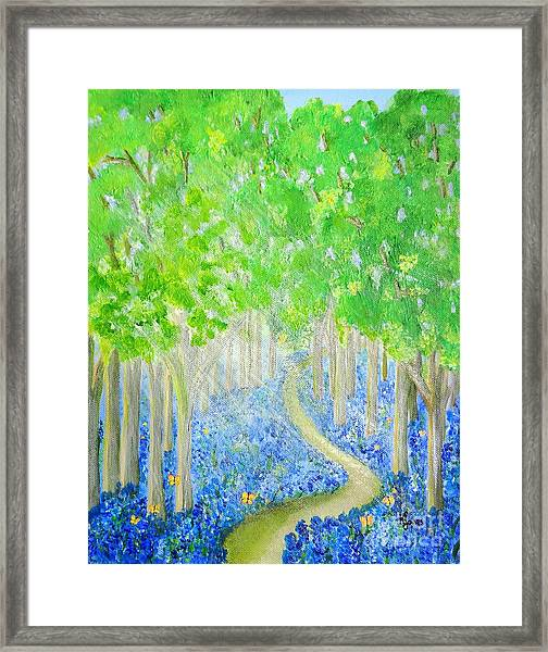 Bluebell Wood With Butterflies Framed Print